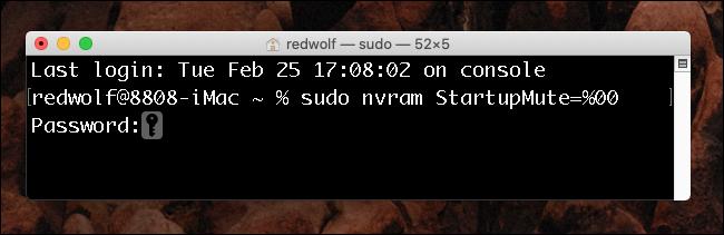 Fenêtre du terminal Mac OS X - Activer le carillon de démarrage