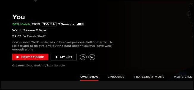 Écran de lecture d'épisode Netflix