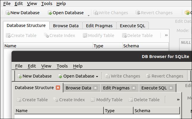 Deux versions de DB Browser pour SQLite s'exécutant dans GNOME.