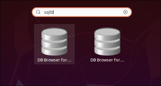 Deux icônes de navigateur de base de données pour SQLite dans les résultats de la recherche.