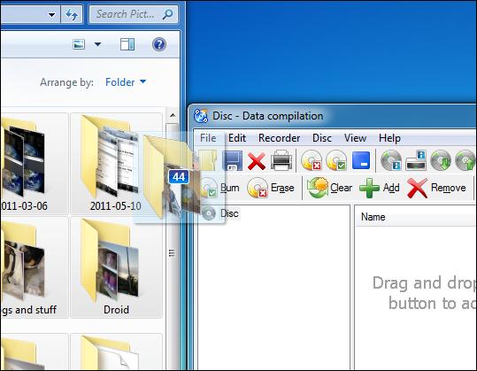 Faites glisser des fichiers
