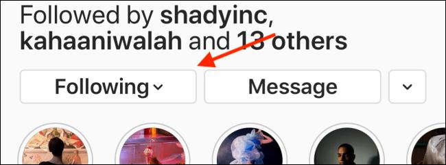 Appuyez sur le bouton suivant sur le profil Instagram