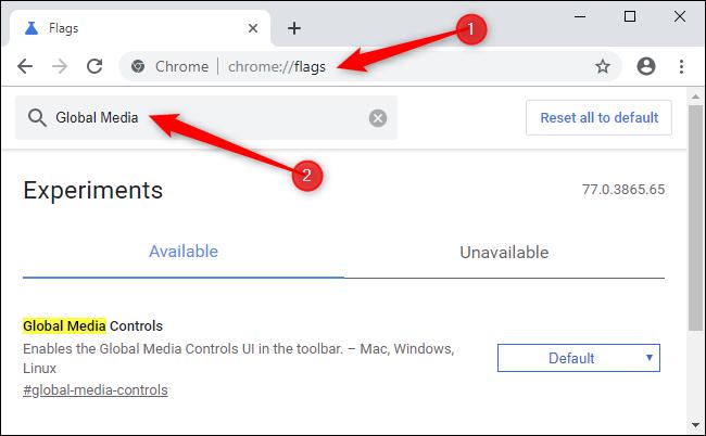 Activation des contrôles multimédias globaux dans Google Chrome.