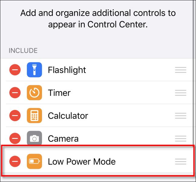 Supprimer le mode faible consommation du centre de contrôle iOS