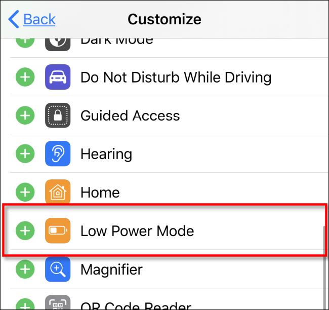 Ajouter le mode faible consommation au centre de contrôle dans iOS iPadOS