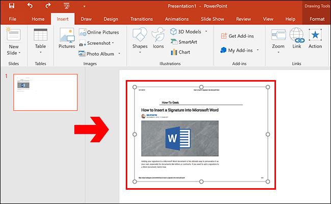 Un document PDF inséré en tant qu'objet dans une présentation Microsoft PowerPoint