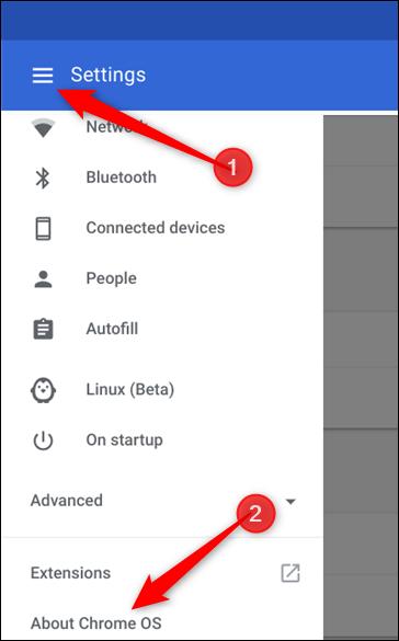 Cliquez sur le menu Hamburger, puis sur À propos de Chrome OS