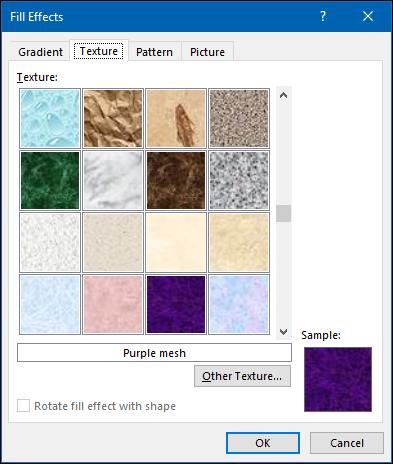 """le """"Texture"""" options dans le """"Effets de remplissage"""" menu."""