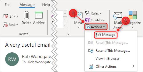 """le """"Actions"""" option et """"Modifier le message"""" option de menu."""