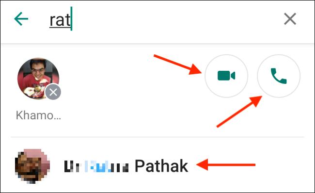 Appuyez sur le bouton Téléphone ou Vidéo dans l'application Whatsapp Android.