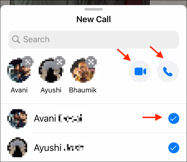 Appuyez sur l'icône Vidéo ou Téléphone dans une discussion de groupe WhatsApp.