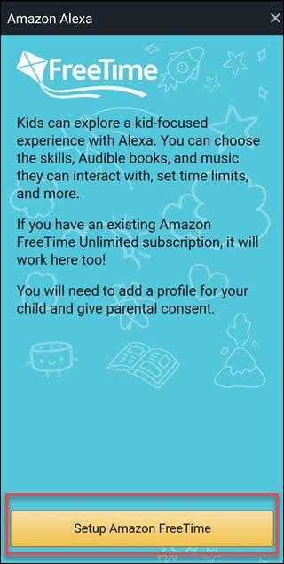 Écran FreeTime avec boîte autour de la configuration Amazon FreeTime