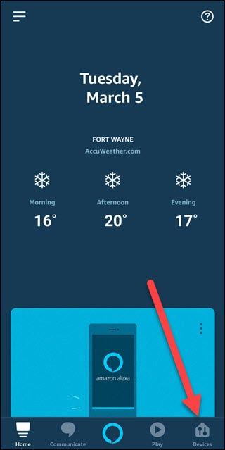Application Alexa avec une flèche pointant vers l'option Appareils