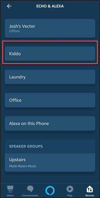 """Application Alexa avec boîte autour """"Gamin"""" entrée d'écho"""