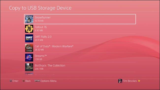 """le """"Copier sur un périphérique de stockage USB"""" menu sur PS4."""