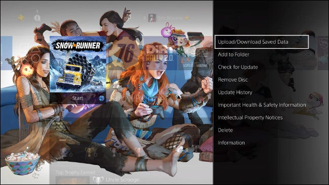 """Sélectionner """"Télécharger / télécharger les données enregistrées"""" sur l'écran d'accueil PS4."""