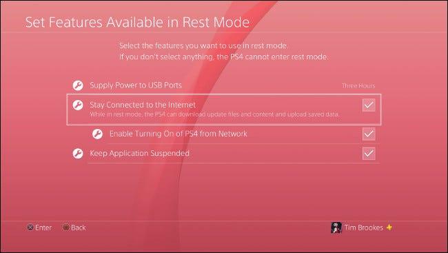 """le """"Définir les fonctionnalités disponibles en mode repos"""" menu sur PlayStation 4."""