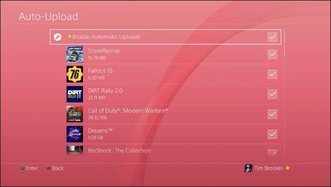 """le """"Téléchargement automatique"""" menu sur PS4."""