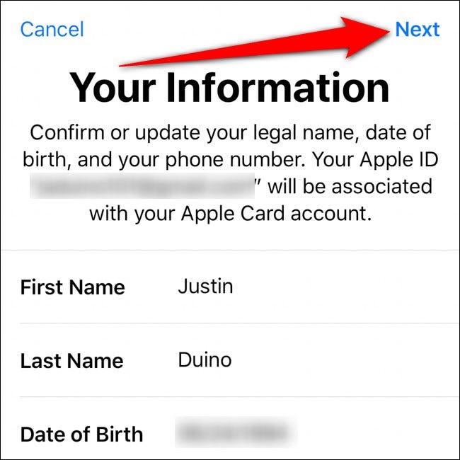 Portefeuille iPhone Confirmez vos informations Appuyez sur Suivant