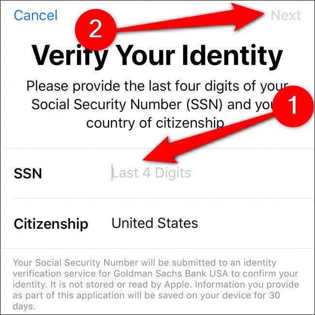 Portefeuille iPhone Vérifiez votre identité