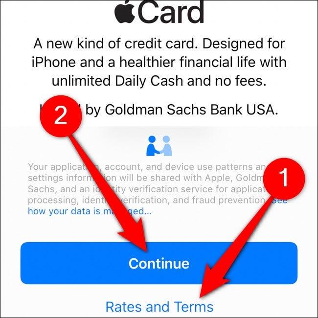 iPhone Wallet Apple Card Lire les conditions Appuyez sur Continuer