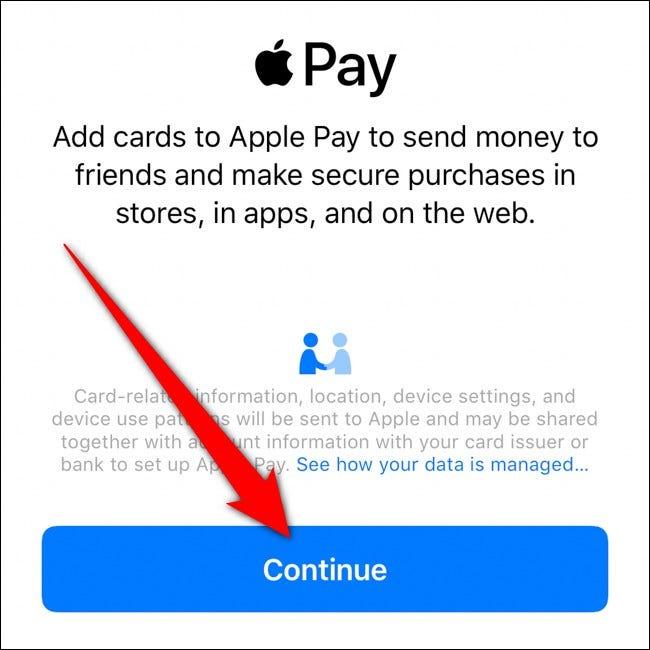 iPhone Apple Wallet Appuyez sur Continuer