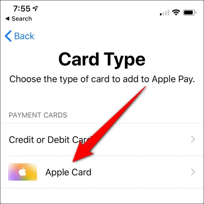 iPhone Wallet Select Apple Card