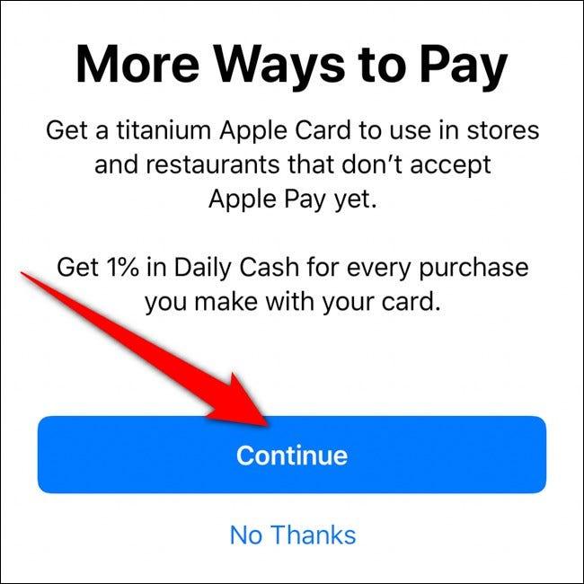 iPhone Wallet Order Titanium Apple Card Cliquez sur Continuer