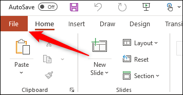 Onglet Fichier pour Windows Office