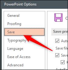 Enregistrer l'onglet dans la fenêtre Options de Word Office