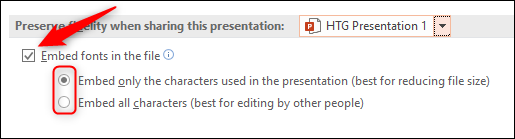 Sélectionnez les polices incorporées dans l'option de fichier PowerPoint Windows