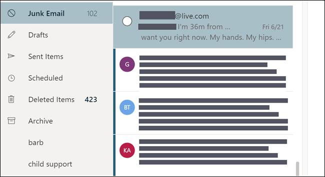 Dossier de courrier indésirable, affichant un courrier électronique qui semble être adressé à partir d'une adresse électronique personnelle.
