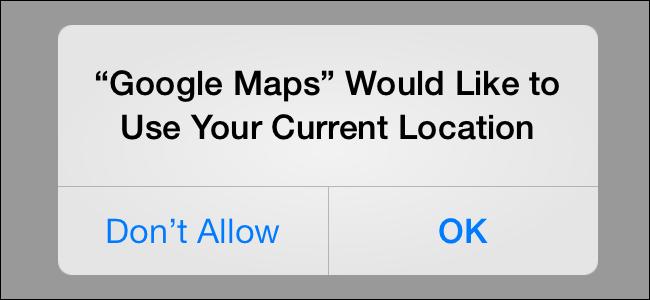 L'invite d'autorisation des services de localisation sur iOS.