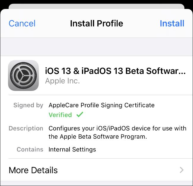 """le """"Installer le profil"""" option pour le logiciel iOS 13 et iPadOS 13 Beta."""