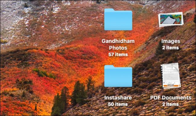 Piles sur le bureau Mac