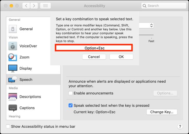 Cliquez sur la case et appuyez sur la nouvelle combinaison de touches pour modifier le raccourci clavier de la fonction Énoncer la sélection