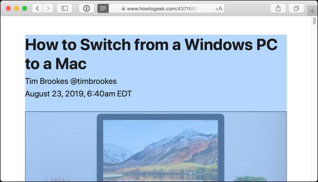 Utilisez Commande + A raccourci clavier pour sélectionner tout le texte de l'article dans Reader View
