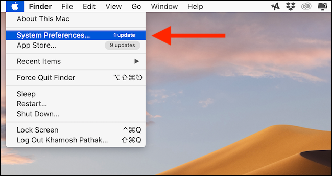 Cliquez sur le bouton Préférences Système dans le menu Apple dans la barre de menus
