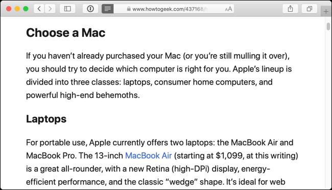 Voici à quoi ressemble la page Web dans Reader View dans Safari