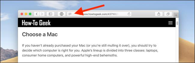 Cliquez sur l'icône Reader View dans la barre d'URL dans Safari sur Mac