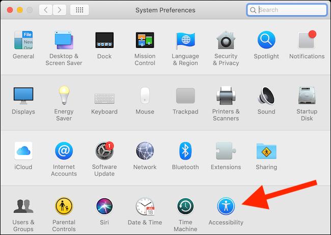 Cliquez sur le bouton Accessibilité dans les Préférences Système dans macOS