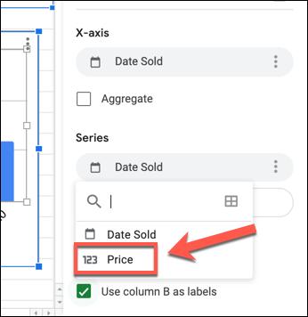 """Pour modifier l'axe Y sur un graphique Google Sheets, sélectionnez la première colonne répertoriée sous la """"Séries"""" catégorie dans la """"Installer"""" de l'onglet Editeur de graphiques et sélectionnez une colonne de remplacement."""