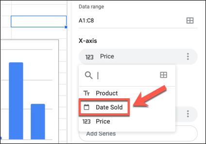 Cliquez sur une étiquette d'axe X ou Y dans le panneau de l'éditeur de graphiques Google Sheets, puis sélectionnez une colonne alternative dans le menu déroulant.