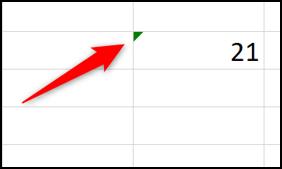 Indicateur vert d'une possible erreur Excel