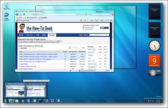 Aperçus de survol de Windows 7