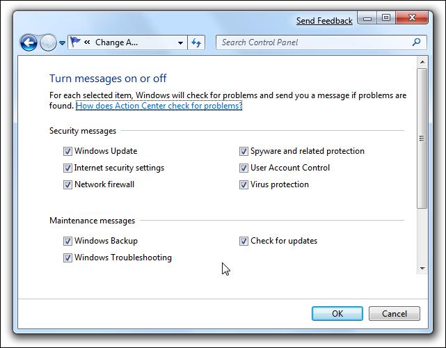 Messages du centre de maintenance Windows 7 activés ou désactivés