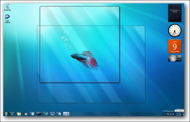 Aperçu de Windows 7 Aero