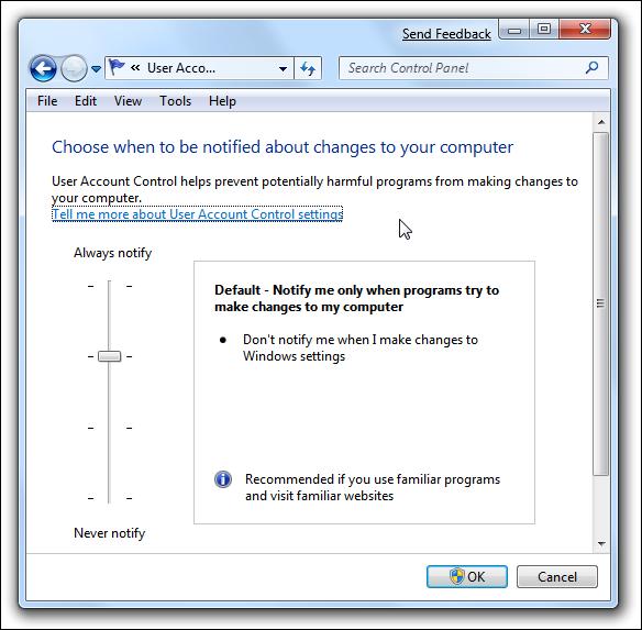 Curseur UAC Windows 7