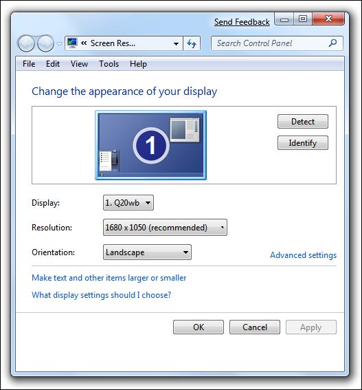 Propriétés d'affichage de Windows 7