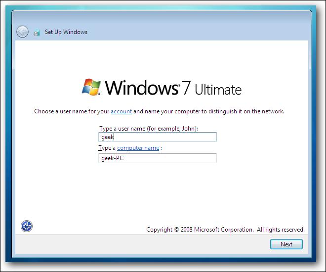 Windows 7 Choisissez un compte
